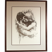 "Leo Jansen ""Hugging"" chalk pastel print - framed - couples art - wedding - marriage (ART10032)"