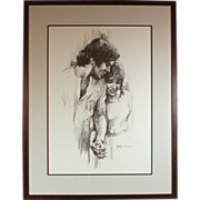 "Leo Jansen ""Holding Hands"" chalk pastel print - framed - couples art - wedding - marriage (ART10031)"