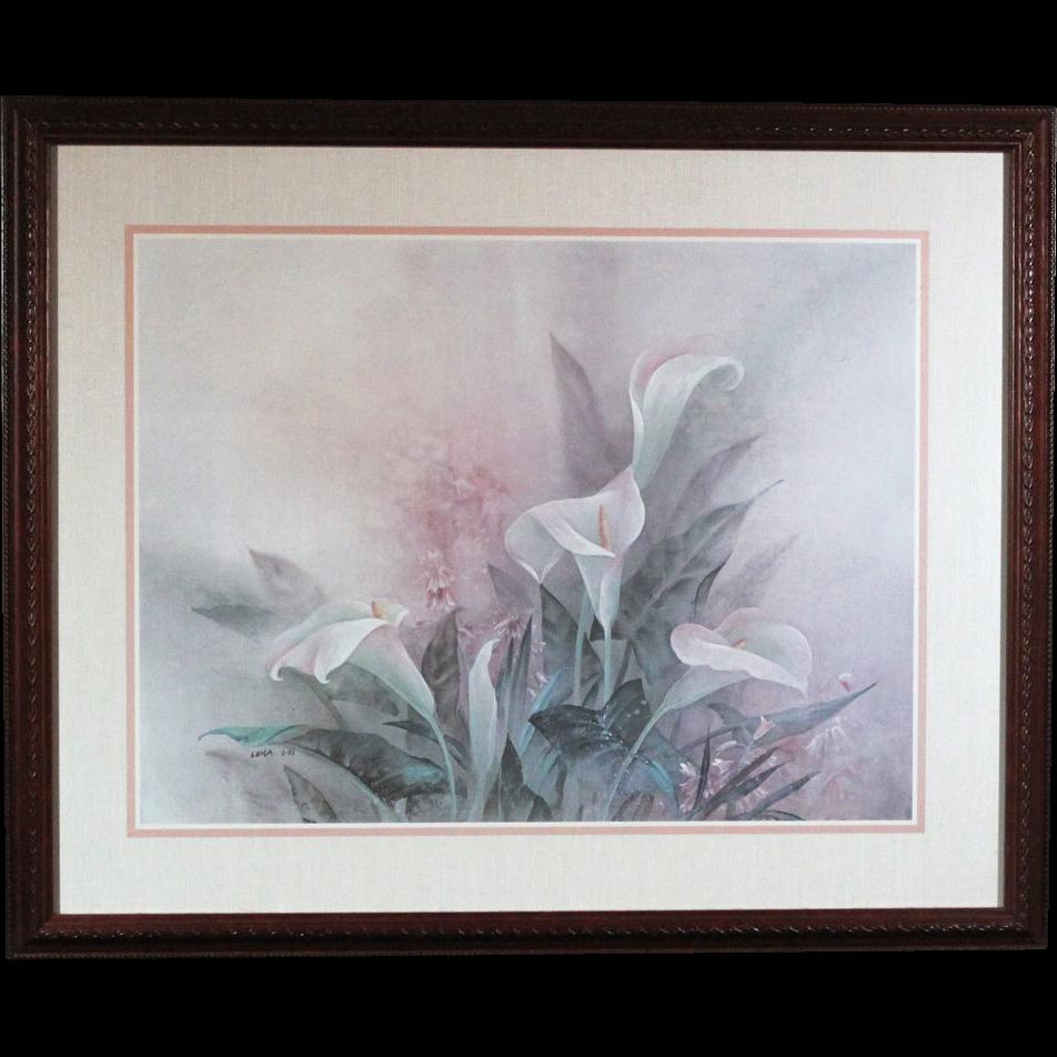 50% OFF SALE: Lena Liu floral print White Calla Lily bouquet - framed (ART10055)