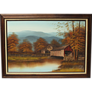 50% OFF SALE: K Michaelson Covered Bridge Grist Mill pastoral landscape oil on canvas (ART10022)