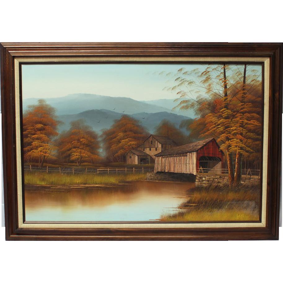 K Michaelson Covered Bridge Grist Mill pastoral landscape ...