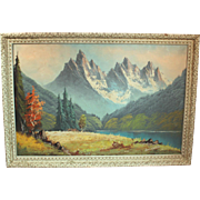 50% OFF SALE: Hans Nador Landscape Oil on Canvas Painting mid-century - contemporary of Ansel Adams (ART10020)