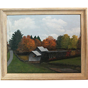 50% OFF SALE: S.R. Tully oil on canvas of grist mill - framed landscape (ART10057)