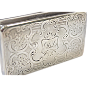 """CYBER SALE $250 Engraved Sterling Silver Snuff Box - Circa Early 1800s - Monogrammed """"ML"""""""