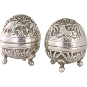 .950 Sterling Silver Japanese Salt & Pepper Shakers 1950s Repousse Chased