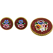 Micro Mosaic Brooch and Earring Set Demi-Parure Italian. Circa 1904. Romantic engraving with a date and initials.
