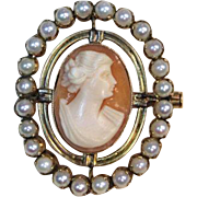 Vintage 1890s Seed Pearl Halo Natural Stone Cameo Brooch 14k