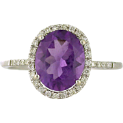 Amethyst Engagement Ring with Diamond Halo 14k white gold 8 x 10 mm Amethyst Purple