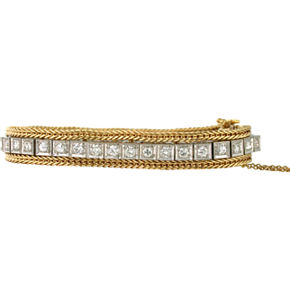 Stunning 5.5 Carat Total Diamond Tennis Bracelet with Rope Jacket 14k yellow and white gold. Double Safety Clasp