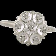 Retro Cluster Diamond Ring, 10k white gold