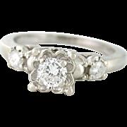 Vintage .55tcw Old European Cut Diamond Engagement Ring 14k white gold Circa 1950