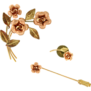 Rose Gold Krementz Brooch Stick Pin and Tie Tack in Original Krementz Box 14k gold overlay