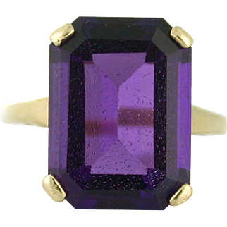 Natural Amethyst Emerald Cut Vintage Ring 14k yellow gold 9.68ct
