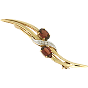 Vintage Garnet and Diamond Brooch / Pin 14k yellow gold. Circa 1946