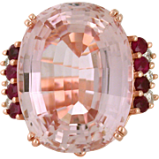 Kunzite 64.95ct with Ruby and Diamond 14k Rose Gold