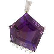 Asymmetrical Amethyst 86.55ct with .50tcw Diamond 14k white Custom Made. Jewelry to the Stars