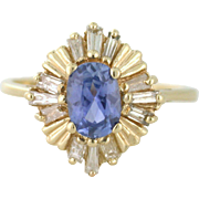 Periwinkle Blue Fine Sapphire with Diamond Sunburst, Art Deco Inspired. Ballerina Ring. 14k yellow gold