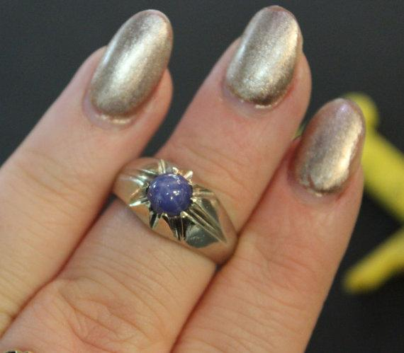 Linde Star Sapphire Ring 14k White Gold Circa 1970 From