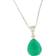 Alluring 13ct Emerald and .89tcw Diamond Pendant Custom Creation 14k white gold