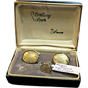 JUST REDUCED Anson Niello Sterling Silver Cufflinks and Tie Tack circa 1957. Very collectible! Formal Wear. Wedding.