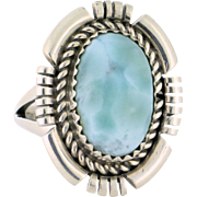 Ray Begay Navajo Ring Larimar in Sterling silver, Size 7.75
