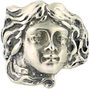 Woman's Face Ring in Sterling silver, Size 6. Victorian. Made in Israel - SS10082
