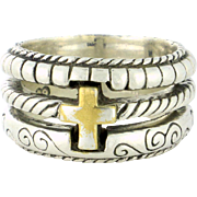 Designer Wide band with Gold Vermeil Cross. Different Styles for a Stacked look sterling silver