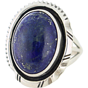 Signed Sodalite Sterling Silver Ring, Size 8. Signed by Bea Johnson