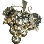 Vintage Signed Mexican Sterling Silver Grape Bunch Pendant / Pin