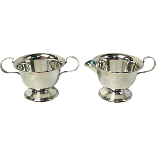 Sterling Silver Creamer and Sugar Bowl Set by Alvin, pattern 2791. 132.4gr