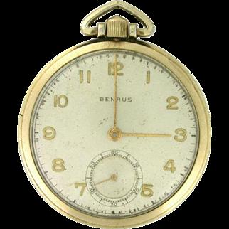 Benrus 17 Jewels Pocket Watch 10k rolled yellow gold circa 1949