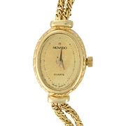 REDUCED Movado 14k Solid Gold Dress Watch, Quartz Movement circa 1980s with Original Box!