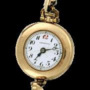 Ladies Watch 1919 Gruen 15 Jewels 14k watch with original band