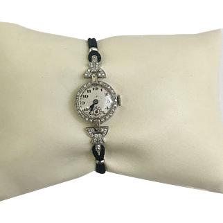 1940's Platinum and Diamond Watch 17 Jewels. Swiss, Elegant Watch Co. Cord band. Safety clasp