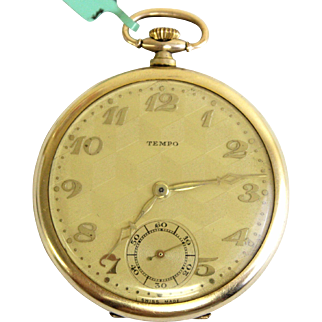 Tempo Swiss 15 Jewels Pocket Watch with Gold Filled Geveve Case - WAT10087