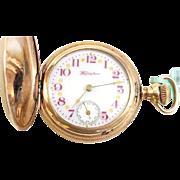 Scarce 14kGF Ladies Hampden 7 Jewel Hunters Case 1903 WAT10092