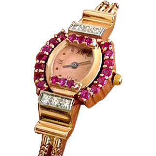 Unique 14kt Rose Gold Ruby & Diamond Watch Perfect Example from 1947 WAT10095