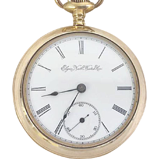 Elgin Pocket Watch Open Face 18s, 7 Jewel Circa 1896 WAT10101