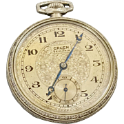 Christmas SALE 40% OFF Vintage Gruen 1934 15 Jewel Pocket Watch GF Runs (WAT10128)