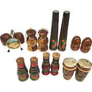Perfect for Collectors! Sold as a lot. Selection of salt and pepper shaker pairs. Wood. Travel