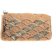 Vintage Evening Purse Champagne Faux Pearls Silver Bugle Beads