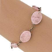 Slices Of Rose Quartz Wrapped in Sterling Silver Wire Bracelet