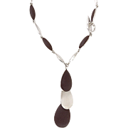 Vintage Silver Tone And Brown Segmented Necklace