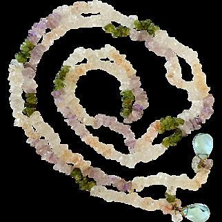 Gorgeous Long Multicolored Quartz Lariat Necklace