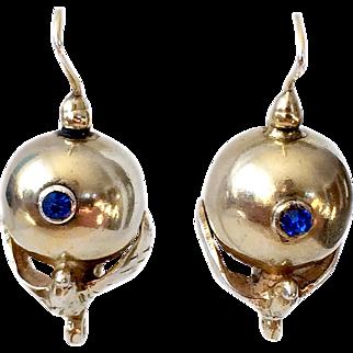 Italian Art Deco Sterling Silver With Gold Vermeil Bird Earrings