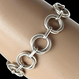 Vintage Sterling Silver Interlocking Circles Bracelet