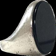 Large Vintage Sterling Silver Onyx Ring For Men Or Women