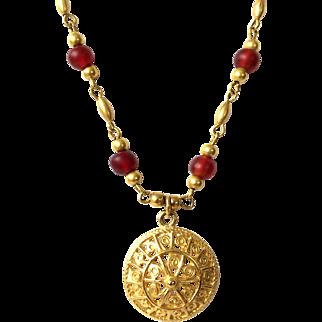 Beautiful Gold Tone And Crimson Italian Design Necklace