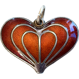 Beautiful David Andersen Red Guilloche Enamel and Sterling Silver heart pendent