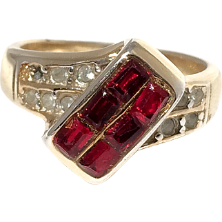 Vintage Deep Red Glass and Clear Rhinestone Ring